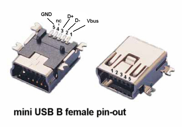 mini usb schematic n. 2 pezzi x connettore femmina smd mini b usb standard l ... mini usb pin wiring diagram